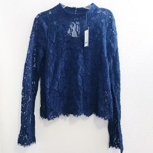 NWT Romeo & Juliet Couture Navy lace blouse top